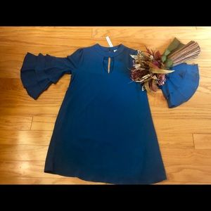 She and sky ruffled tiered sleeve tiered dress
